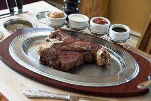 Steak Platter with Wood Underliner and Condiment Holder
