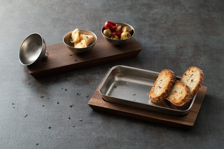 Three Compartment Condiment Holder and Wood Tray